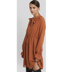 na-kd chiffon buttoned dress - orange