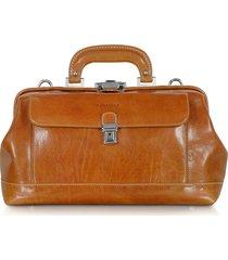 chiarugi designer doctor bags, handmade cognac leather professional doctor bag