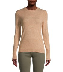 saks fifth avenue women's roundneck split-cuff sweater - classic camel - size xl