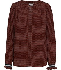 fresorienta 1 blouse blus långärmad röd fransa