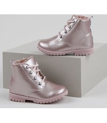 bota coturno infantil palomino metalizado com glitter rosa
