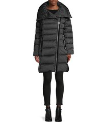 tahari women's brooklyn asymmetrical-zip down puffer coat - black - size xxs