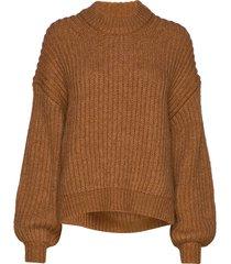 dona crew neck 11213 stickad tröja brun samsøe samsøe