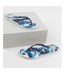 chinelo feminino havaianas flash sweet summer estampado de coqueiros azul marinho