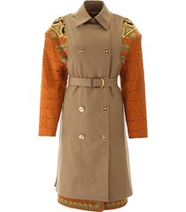 versace barocco print trench coat