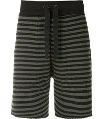 osklen rustic stripes print track shorts - black