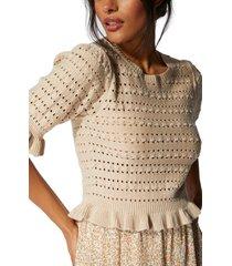 women's minkpink pointelle peplum sweater, size large - ivory