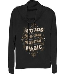 fifth sun harry potter dumbledore words are magic quote cowl neck women's pullover fleece