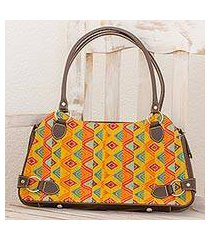 leather accent cotton shoulder bag, 'textile tradition' (guatemala)