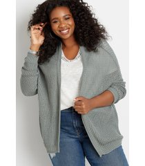 maurices plus size womens solid oversized open front cardigan green