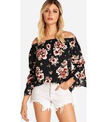 black slit diseño blusas con mangas acampanadas y estampado floral fuera del hombro