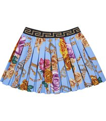versace pleated floral & chain print skirt