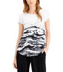 alfani petite printed scoop-neck t-shirt, created for macy's