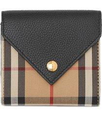 burberry vintage check tri-fold wallet - black