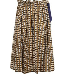 dice kayek pleated checked skirt