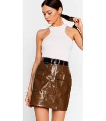 womens this isn't working faux leather mini skirt - chocolate