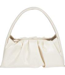 themoirè white vegan nappa shoulder bag