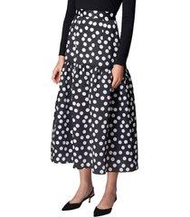 women's carolina herrera ruffle dot print silk organza skirt, size 12 - black