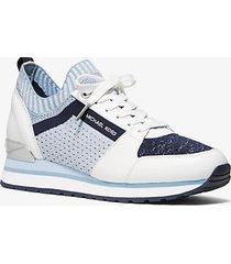 mk sneaker billie in maglia metallizzata - blu ammiraglio (blu) - michael kors