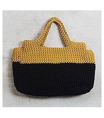 hand-crocheted handle handbag, 'sunset in africa' (ghana)