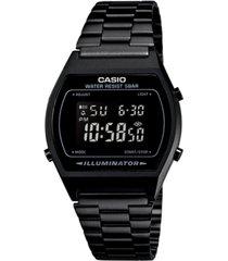 casio men's digital vintage black stainless steel bracelet watch 39x39mm b640wb-1bmv