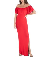 24seven comfort apparel off shoulder ruffle detail maxi dress