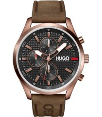 hugo men's #chase brown leather strap watch 46mm