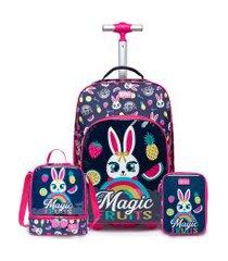 kit mochila de rodinha + lancheira + estojo spector coelho infantil escolar azul/rosa