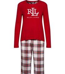 lrl l/s rib top long fleece pant pj set pyjama rood lauren ralph lauren homewear