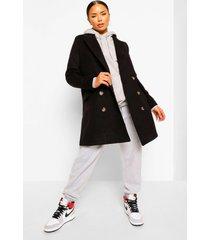 getailleerde nepwollen jas met dubbele knopen, black