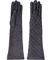 manokhi quilted long leather gloves - black