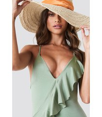 trendyol diagonal ruffle swimsuit - green