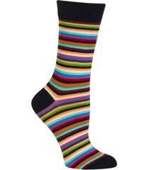 hot sox women's stripe fashion crew socks
