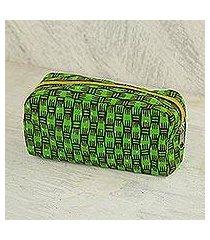 cotton cosmetic bag, 'vibrant kiwi' (ghana)