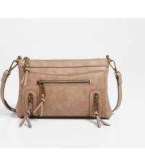 maurices womens taupe zipper crossbody bag brown