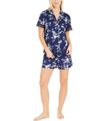charter club cotton lace-trim printed pajamas shorts set, created for macy's