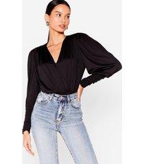 womens do you slink about us shoulder pad wrap bodysuit - black