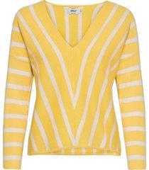 onlaya 7/8 v-neck pullover knt noos stickad tröja gul only