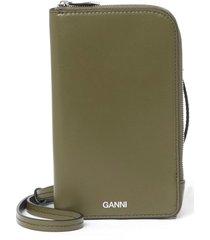 ganni print leather phone crossbody bag - green
