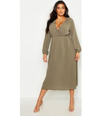 plus wrap midi dress, sage