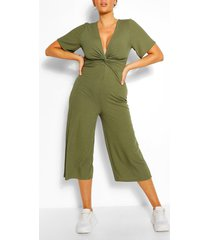 plus ribbed twist detail jumpsuit, khaki