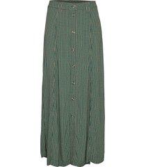 printed crepe skirt lång kjol grön ganni