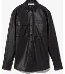 proenza schouler white label faux leather shirt black 8
