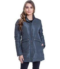 jaqueta sobretudo carbella casaco acolchoado inverno detalhe costuras cinza