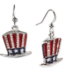 holiday lane silver-tone pave red, white & blue uncle sam hat drop earrings, created for macy's