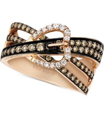 le vian chocolatier gladiator weave diamond belt buckle ring (9/10 ct. t.w.) in 14k rose gold