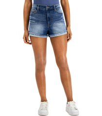 celebrity pink juniors' curvy high rise roll cuff shorts