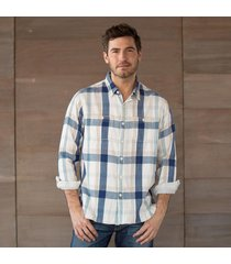 wordsmith plaid shirt - natural