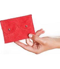 mini portfel czerwony zamsz