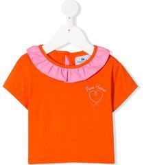 raspberry plum joy ruffle-trim t-shirt - orange